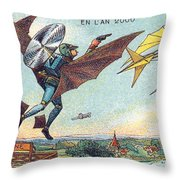 Flying Policemen, 1900s French Postcard Throw Pillow