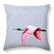 Flying Pretty - Roseate Spoonbill Throw Pillow