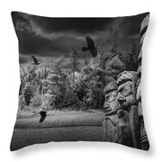Flying Ravens And Totem Poles In Black And White Throw Pillow