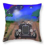 Flying Saucers Attack Teenage Hot Rodders Throw Pillow