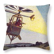 Flying Sentinel, 1900s French Postcard Throw Pillow