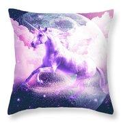 Flying Space Galaxy Unicorn Throw Pillow
