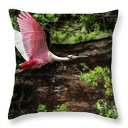 Flying Spoonbill Throw Pillow