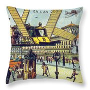 Flying Taxicabs, 1900s French Postcard Throw Pillow