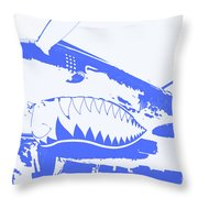 Flying Tiger Blue Throw Pillow