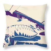 Flying Tiger Blue Purple  Throw Pillow