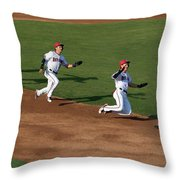 Flying To Third Throw Pillow
