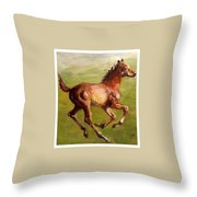 Foalin' Around Throw Pillow