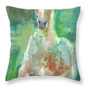 Foal  With Shades Of Green Throw Pillow