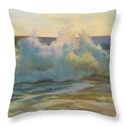 Foaming Waves At Beach Throw Pillow