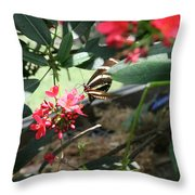 Focus In The Center - Black And White Butterfly Throw Pillow