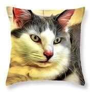 Focused Feline Throw Pillow