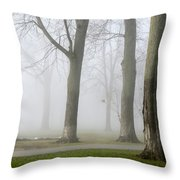 Fog Amongst The Trees Throw Pillow