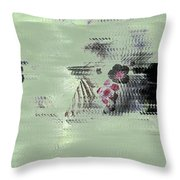 Fog And Flowers Throw Pillow