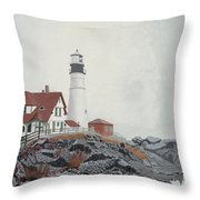Fog Approaching Portland Head Light Throw Pillow