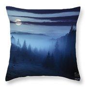Fog Around The Mountain Top At Night Throw Pillow