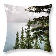 Fog Going Down At Lake Moraine Throw Pillow