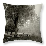 Fog In Cemetery 2383gt_s2 Throw Pillow