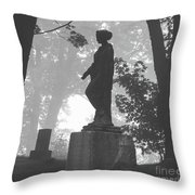 Fog In The Cemetery Throw Pillow