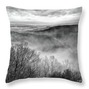 Fog In The Mountains - Pipestem State Park Throw Pillow