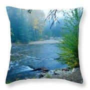 Fog In The Wenatchee Forest Throw Pillow