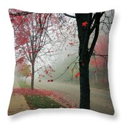 Fog On A November Morning Throw Pillow