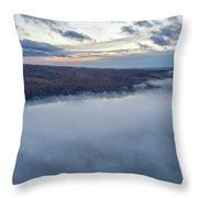 Fog On Goose Lake Throw Pillow