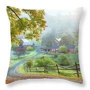 Fog On Sleepy Hollow Farm Throw Pillow