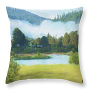 Fog On The Road To Mccall Throw Pillow