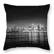 Fog Shrouded Midtown Manhattan In Black And White Throw Pillow