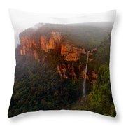 Fog Sunrise And Waterfalls Throw Pillow
