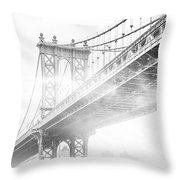 Fog Under The Manhattan Bw Throw Pillow