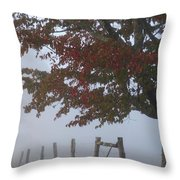 Foggy Autumn Morning In Cades Cove Throw Pillow