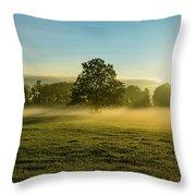 Foggy Autumn Morning On The Farm Throw Pillow