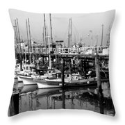 Foggy Boats Throw Pillow