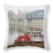 Foggy Chattanooga Throw Pillow by Tom and Pat Cory