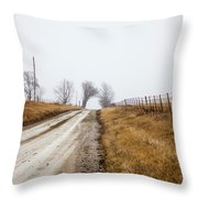 Foggy Country Road Throw Pillow