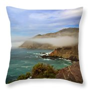 Foggy Day At Big Sur Throw Pillow