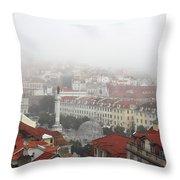Foggy Day At Lisbon. Portugal Throw Pillow