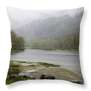 Foggy Day At Loch Lubnaig Throw Pillow