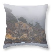 Foggy Day At Point Lobos Throw Pillow