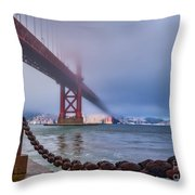Foggy Day At The Golden Gate Bridge Throw Pillow