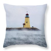 Foggy Day At The Lighthouse Throw Pillow