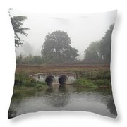 Foggy Day On A Canal Throw Pillow