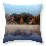 Foggy Fall Reflections Throw Pillow