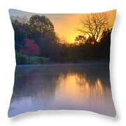 Foggy Fall Sunrise Throw Pillow