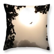 Foggy Heron Flight Throw Pillow