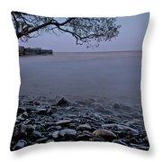 Foggy Lake At Night Throw Pillow