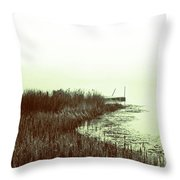 Foggy Lake Pier Throw Pillow
