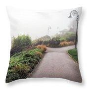Foggy Langmoor Gardens - Lyme Regis Throw Pillow